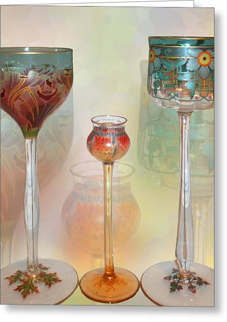 Antique Glass Greeting Cards - Meyrs Neffe Wine Glasses Greeting Card by Ginny Schmidt