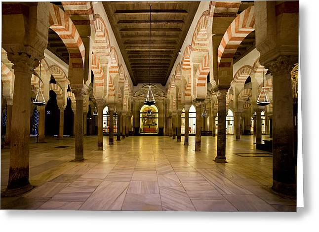 Cordoba Greeting Cards - Mezquita Interior in Cordoba Greeting Card by Artur Bogacki