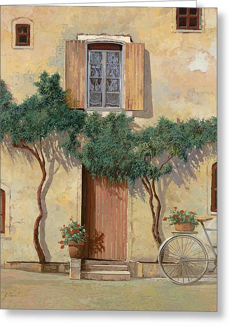 Mezza Bicicletta Sul Muro Greeting Card by Guido Borelli