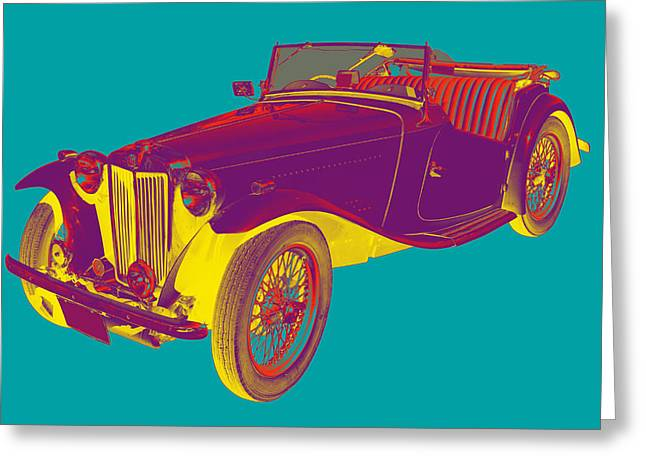 Spokes Greeting Cards - MG Convertible Antique Car Pop Art Greeting Card by Keith Webber Jr