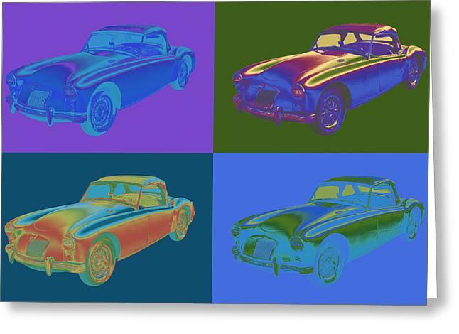 Spokes Greeting Cards - MG Convertible Sportscar Pop Art Greeting Card by Keith Webber Jr