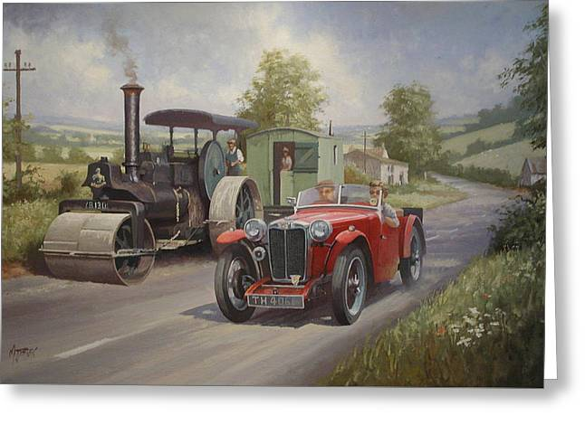Rural Road Greeting Cards - MG sports car. Greeting Card by Mike  Jeffries