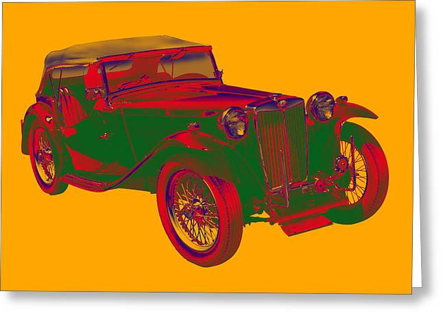 Classic Automobile Art Greeting Cards - Mg Tc Antique Car Pop Art Greeting Card by Keith Webber Jr