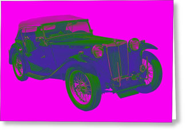 Classic Automobile Art Greeting Cards - Mg Tc Antique Car Pop Image Greeting Card by Keith Webber Jr