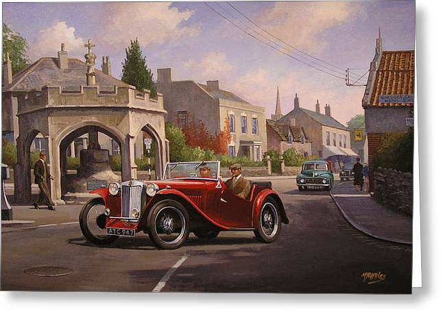 Post-war Greeting Cards - MG TC Sports car Greeting Card by Mike  Jeffries