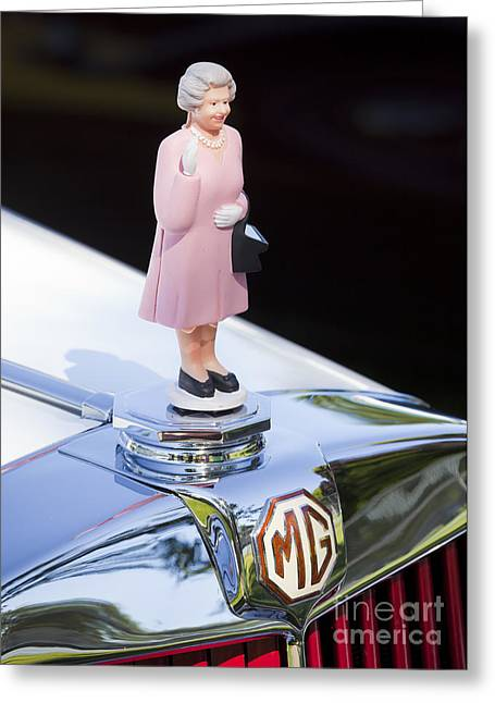 British Royalty Greeting Cards - MG Waving Queen Greeting Card by Chris Dutton