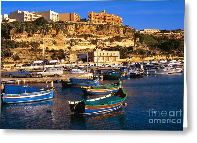 Maltese Greeting Cards - Mgarr Harbor Gozo Greeting Card by Thomas R Fletcher