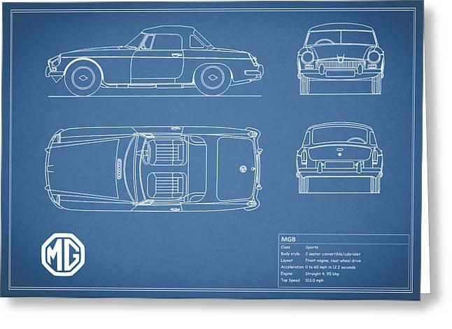 British Car Greeting Cards - MGB Blueprint Greeting Card by Mark Rogan