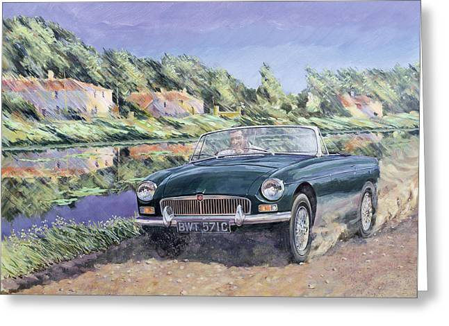 Rich Countries Greeting Cards - MGB by a French Canal Greeting Card by Clive Metcalfe