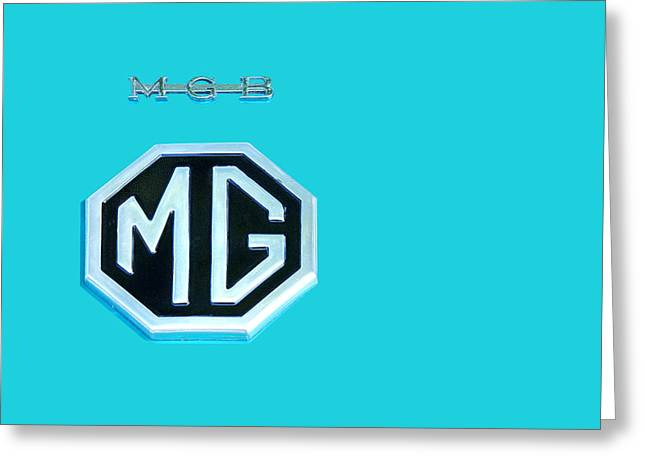 Silver Turquoise Greeting Cards - MGB Emblem on Blue Greeting Card by Gill Billington