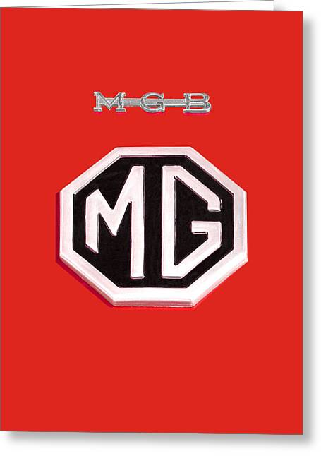 Vintage Mg Greeting Cards - MGB Emblem on Red Vertical Greeting Card by Gill Billington