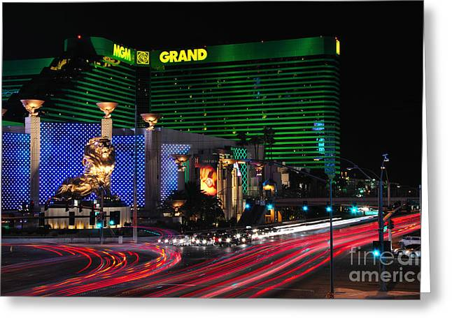 Mgm Greeting Cards - MGM Grand Hotel and Casino Greeting Card by Eddie Yerkish