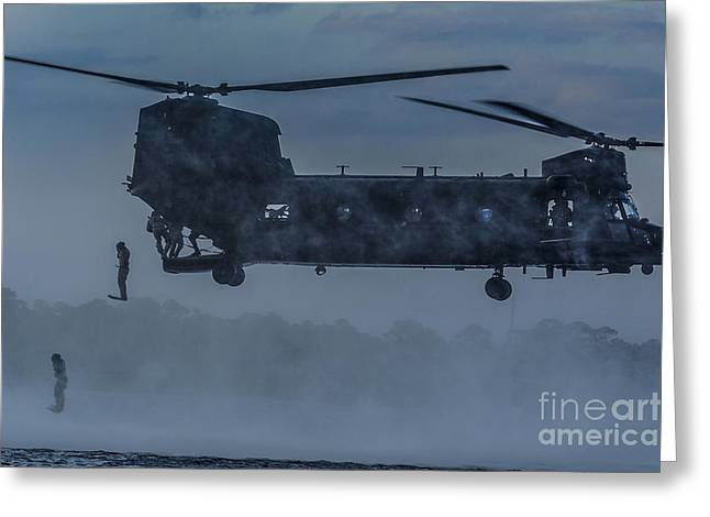 Deployment Greeting Cards - MH-47 Chinook Helicopter  Greeting Card by Celestial Images