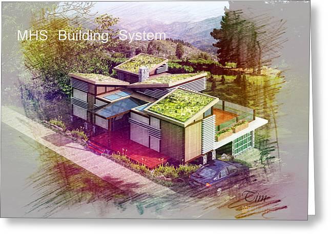 Mhs Greeting Cards - MHS Prefab House Greeting Card by Digitoart  Studios