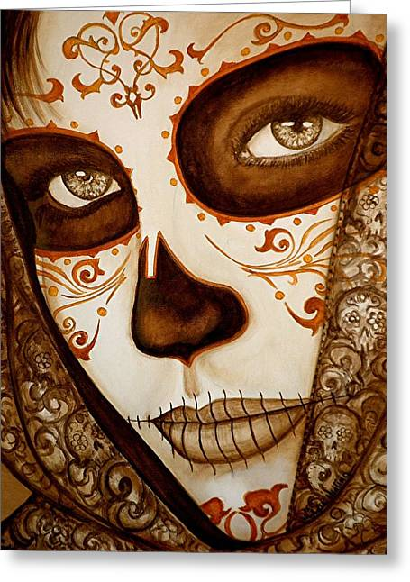 Day Of The Dead Greeting Cards - Mi Amor detras del Velo Greeting Card by Al  Molina
