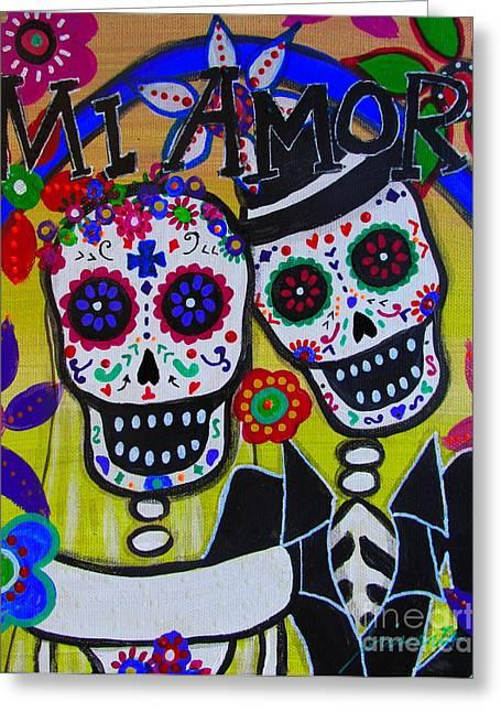 Wedding Couple Day Of The Dead Dia De Los Muertos Anniversary Gift Te Amo Prisarts Pristine Cartera Turkus Bride Flowers Blooms Love Mexican Art Folk Town For Sale Original Greeting Cards - Mi Amor Dia De Los Muertos Wedding Greeting Card by Pristine Cartera Turkus
