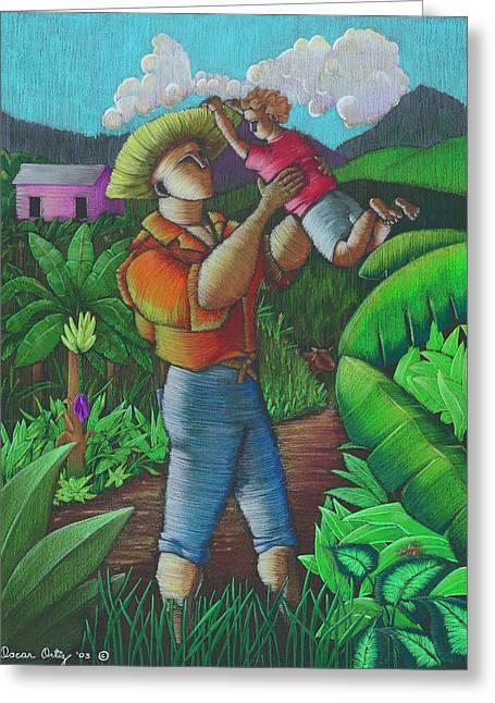 Jibaros Greeting Cards - Mi futuro y mi tierra Greeting Card by Oscar Ortiz