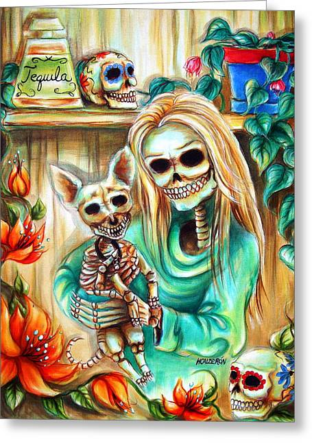 Cantina Greeting Cards - Mi Perrito Greeting Card by Heather Calderon
