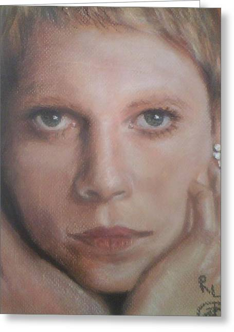 Celebrity Portraits Pastels Greeting Cards - Mia Farrow  Greeting Card by Ronnie Melvin