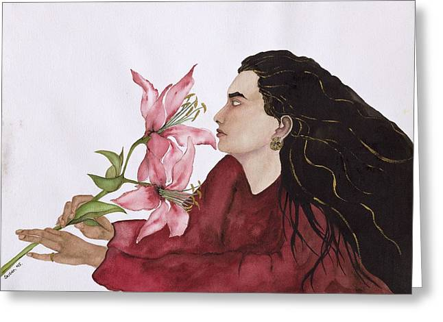 Smelling Greeting Cards - Mia Figlia, 1995 Wc On Paper Greeting Card by Susan Adams