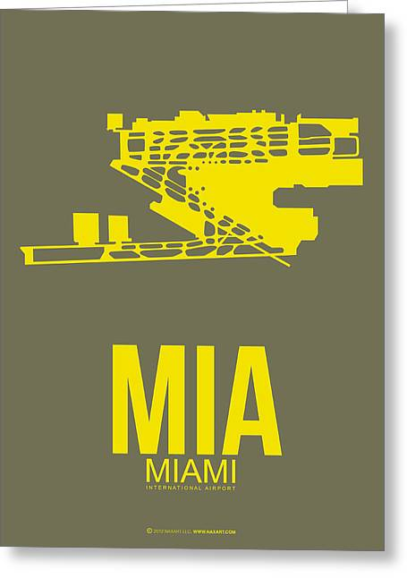 Miami Mixed Media Greeting Cards - MIA Miami Airport Poster 1 Greeting Card by Naxart Studio