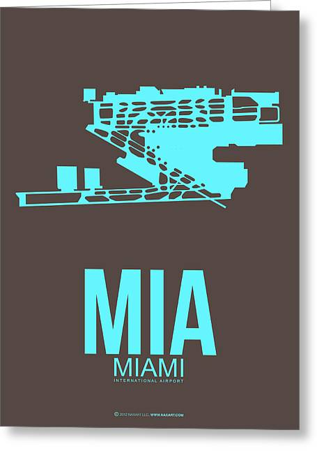 Tourists Greeting Cards - MIA Miami Airport Poster 2 Greeting Card by Naxart Studio