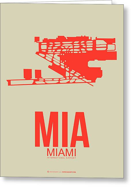 Miami Mixed Media Greeting Cards - MIA Miami Airport Poster 3 Greeting Card by Naxart Studio