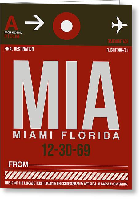 Town Mixed Media Greeting Cards - MIA Miami Airport Poster 4 Greeting Card by Naxart Studio