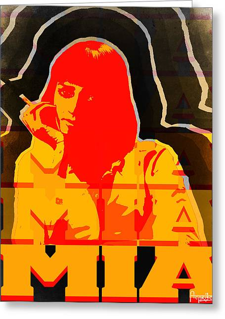 Black Greeting Cards - Mia Wallace in Pulp Fiction  Greeting Card by Andres Carbo