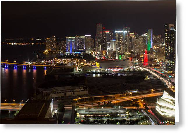 Rene Triay Photography Greeting Cards - Miami After Dark II Skyline  Greeting Card by Rene Triay Photography
