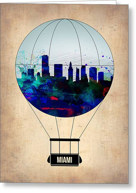 Tourists Greeting Cards - Miami Air Balloon Greeting Card by Naxart Studio