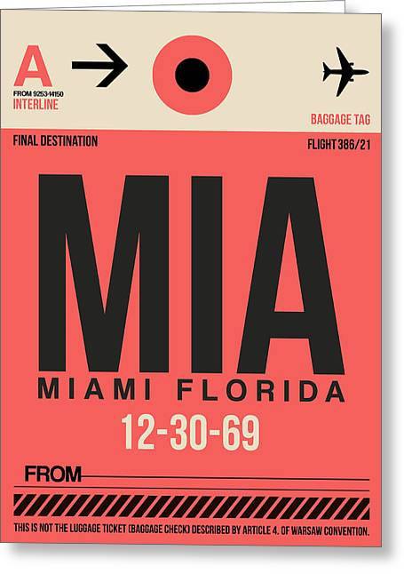 Tourists Greeting Cards - Miami Airport Poster 3 Greeting Card by Naxart Studio