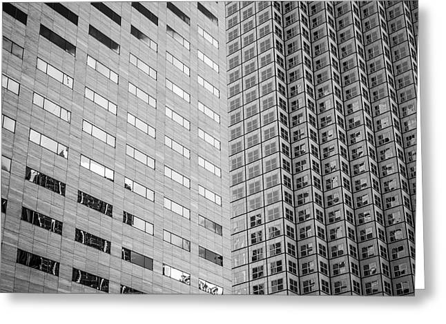 Architecture 2 Greeting Cards - Miami Architecture Detail 2 - Black and White - Square Crop Greeting Card by Ian Monk
