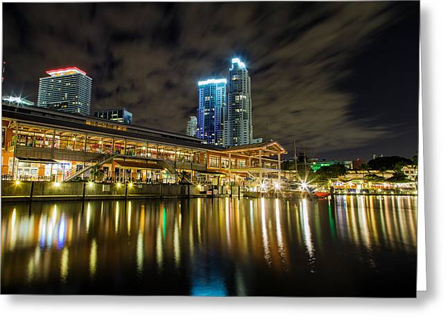 Miami Photographs Greeting Cards - Miami Bayside at night Greeting Card by Andres Leon