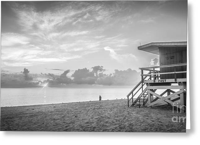 Rescue Photographs Greeting Cards - Miami Beach - 74th Street Sunrise - Panoramic - Black and White Greeting Card by Ian Monk