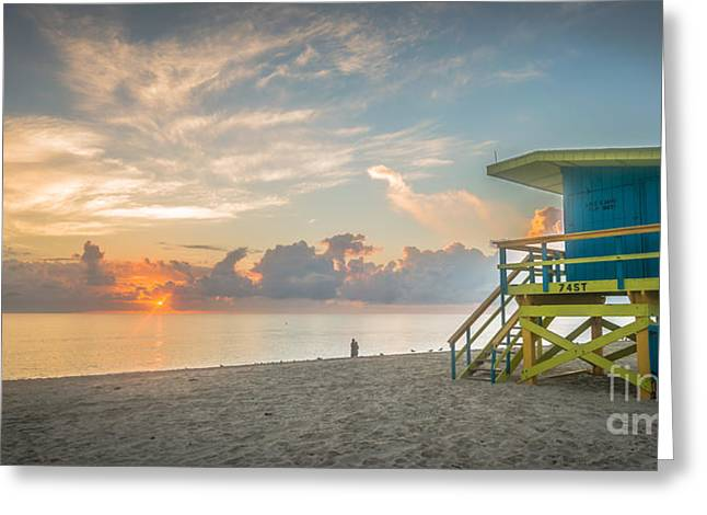 Rescue Photographs Greeting Cards - Miami Beach - 74th Street Sunrise - Panoramic Greeting Card by Ian Monk
