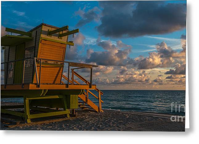 Heavenly Sunrise Greeting Cards - Miami Beach Lifeguard Station Glows from the First Light of Day - Panoramic Greeting Card by Ian Monk