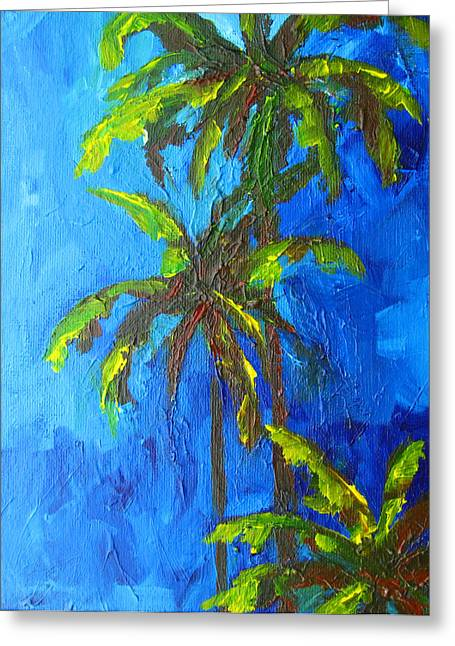 Patio Decor Greeting Cards - Miami Beach Palm Trees in a blue sky Greeting Card by Patricia Awapara