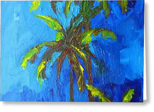Miami Beach Palm Trees in a blue sky Greeting Card by Patricia Awapara