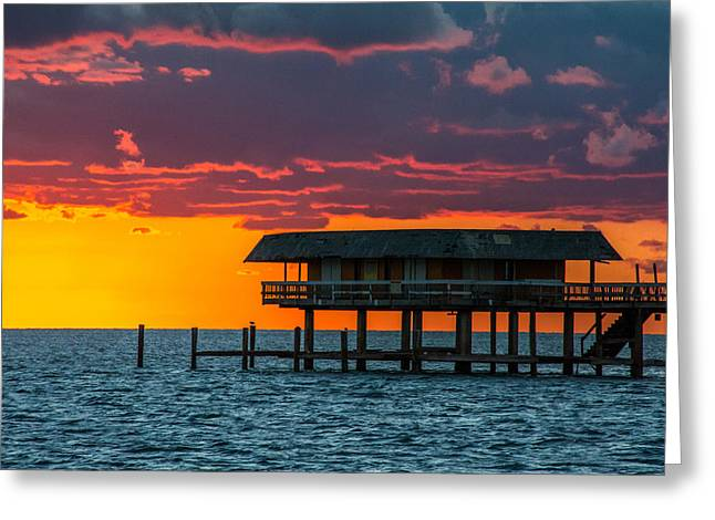 Stiltsville Greeting Cards - Miami Biscayne Bay Greeting Card by Manuel Lopez