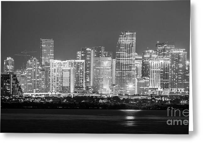 Beach At Night Greeting Cards - Miami City Night Black and White Greeting Card by Rene Triay Photography