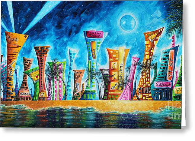 Miami Paintings Greeting Cards - Miami City South Beach Original Painting Tropical Cityscape Art MIAMI NIGHT LIFE by MADART Absolut X Greeting Card by Megan Duncanson