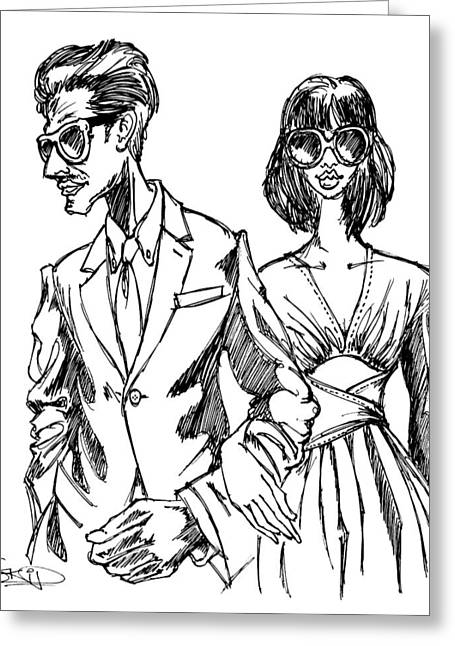 Menswear Greeting Cards - Miami Couple Greeting Card by SKIP Smith