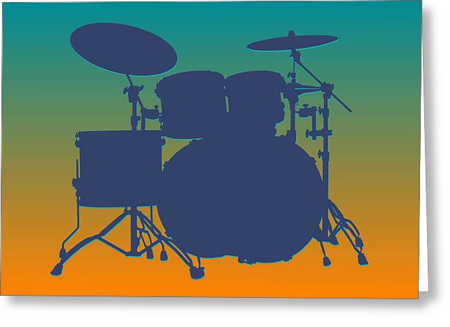 Drum Greeting Cards - Miami Dolphins Drum Set Greeting Card by Joe Hamilton