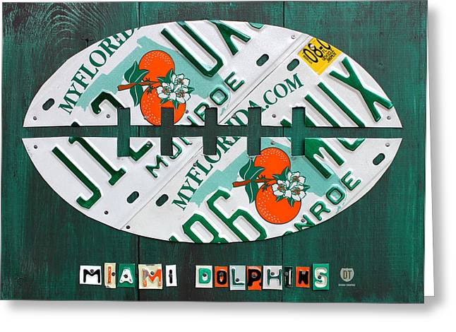 Field Mixed Media Greeting Cards - Miami Dolphins Football Recycled License Plate Art Greeting Card by Design Turnpike