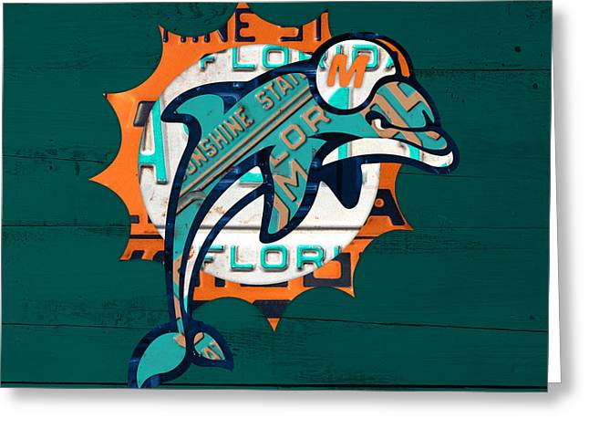 Miami Mixed Media Greeting Cards - Miami Dolphins Football Team Retro Logo Florida License Plate Art Greeting Card by Design Turnpike