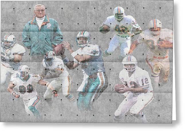 Offense Greeting Cards - Miami Dolphins Legends Greeting Card by Joe Hamilton