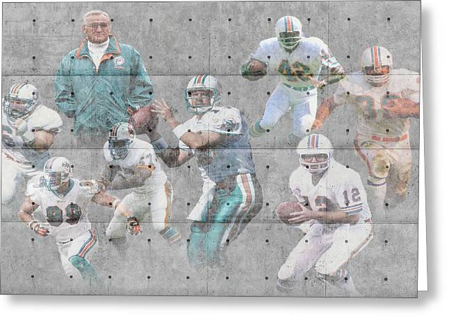 Christmas Greeting Photographs Greeting Cards - Miami Dolphins Legends Greeting Card by Joe Hamilton