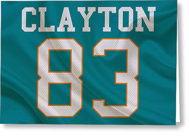 Clayton Greeting Cards - Miami Dolphins Mark Clayton Greeting Card by Joe Hamilton