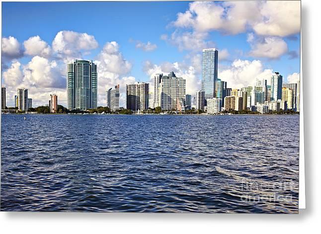 Miami Pyrography Greeting Cards - Miami Downtow skyline Greeting Card by Eyzen M Kim